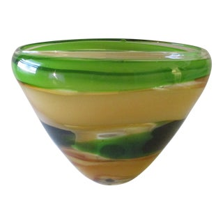 Evolution by Waterford Peridot Whisper Large Oval Blown Glass Bowl For Sale