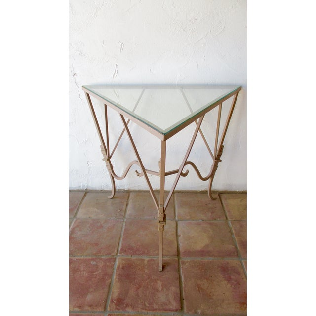 Vintage Mediterranean Wrought Iron and Glass Tall OutDoor Table Bar For Sale - Image 10 of 13