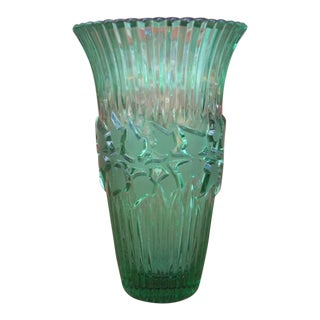 German Green Crystal Vase For Sale