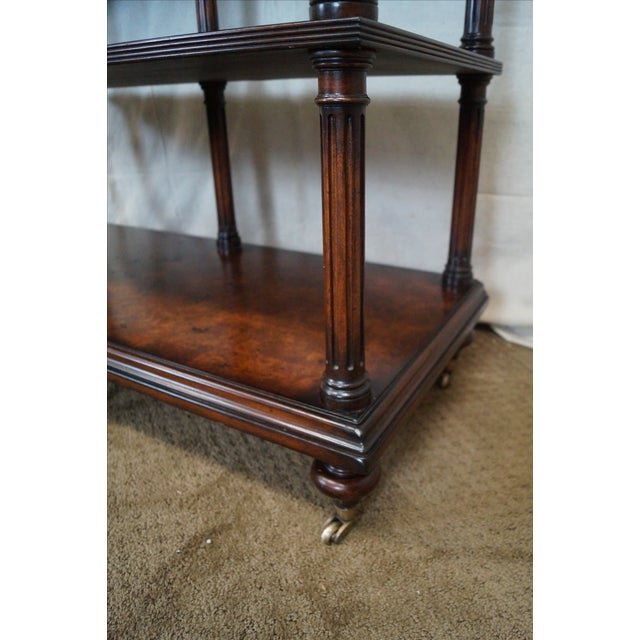 Quality Burl Wood 3 Tier Regency Style Server Cart For Sale - Image 9 of 10