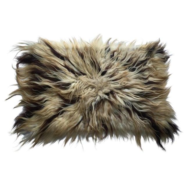 "Handmade Natural Wool Shaggy Tulu Rug - 3'6"" X 2'6"" For Sale"