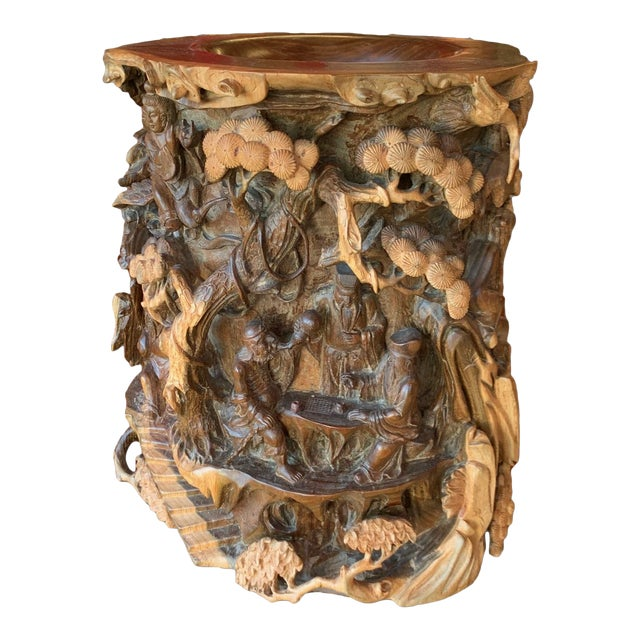 Chinese Immortals Carved Elm Brush Pot For Sale