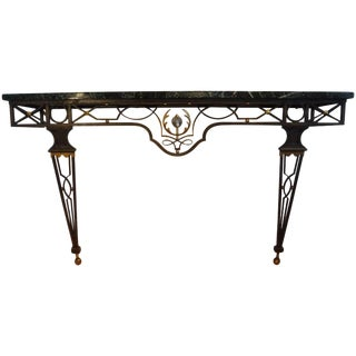 French Neoclassical Style Iron Console Attributed to Gilbert Poillerat For Sale