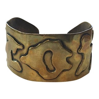 Wide Brass Brutalist Cuff For Sale