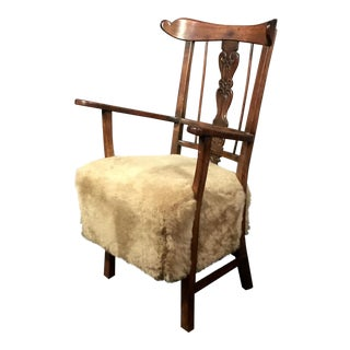 Art Nouveau Armchair, C1915, Oak and Lambswool For Sale
