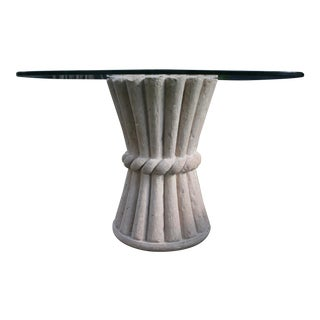 Carved Pink Cantera Stone Dining Table, Hall Table or Patio Table For Sale