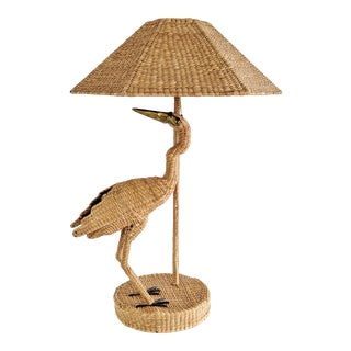 Mario Lopez Torres 1974 Monumental Egret Wicker Table Lamp For Sale