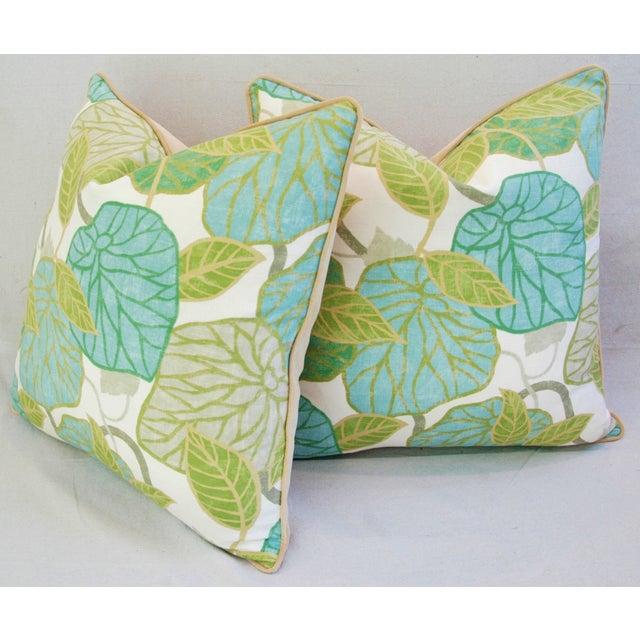 Custom Tailored Atrium Foliage Feather/Down Linen & Velvet Pillows - Pair For Sale - Image 5 of 11