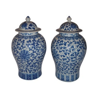 Large Blue & White Porcelain Ginger Jars - Pair For Sale