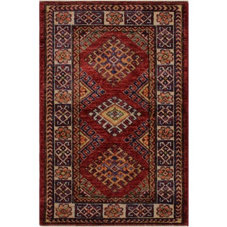 Rustic Super Kazak Garland Red/Ivory Hand-Knotted Wool Rug - 2'0 X 2'11 For Sale