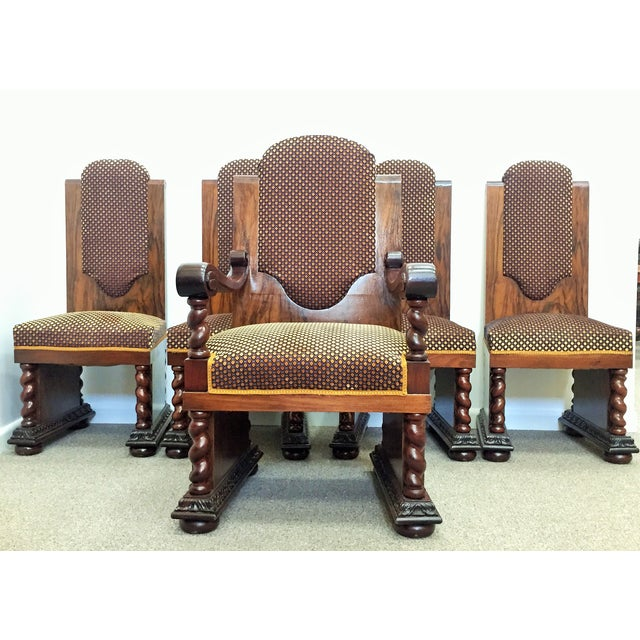 Renaissance Walnut & Mahogany Dining Chairs - Set of 5 For Sale - Image 3 of 8