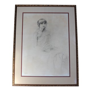 1982 Pencil & Charcoal Portrait of Woman by Howard Weingarden For Sale