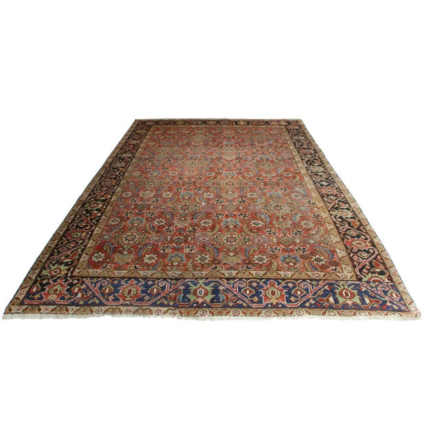 Islamic Antique Hand Knotted Wool Persian Hariz Rug - 8′ × 9′10″ For Sale - Image 3 of 3