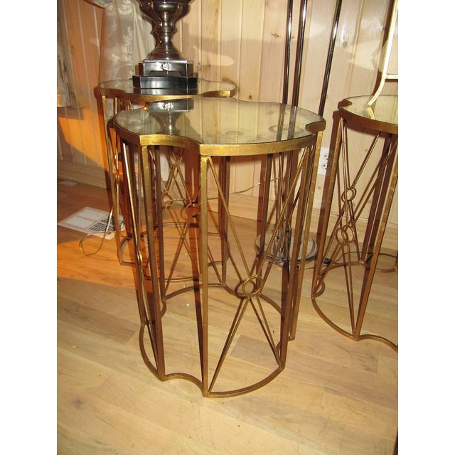 Hollywood Regency Two Gilt Metal and Antique Mirror Drink Table in the Style of Bagues For Sale - Image 3 of 5