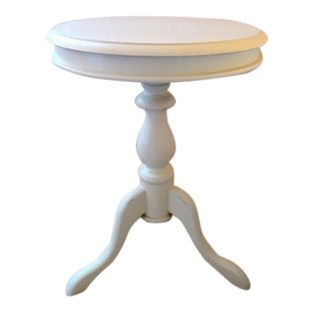 Shabby Chic Pottery Barn Small White Round Side Table Chairish