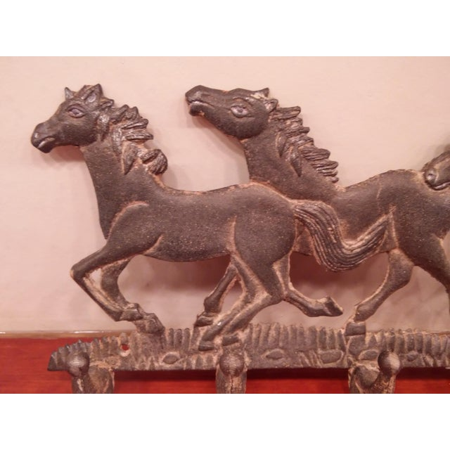 Running Ponies Cast Iron Wall Rack For Sale - Image 9 of 10