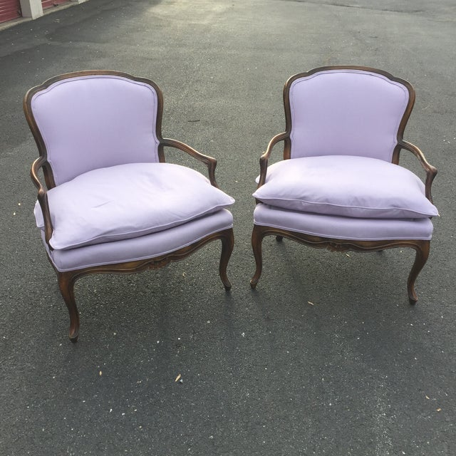 Vintage French Louis XV style bergere chairs pair Newly reupolstered in beautiful lilac twill... color of the year frame...