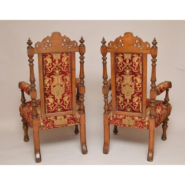 Pair of Antique English Carved Oak Arm Chairs c. 1880 - Image 3 of 5