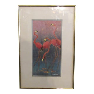 Colorful Flamingo Art With Brass Frame For Sale
