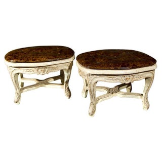 French Louis XV Style Footstools - Pair For Sale