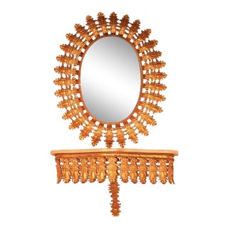 Italian Hollywood Regency Gold Sunburst Mirror