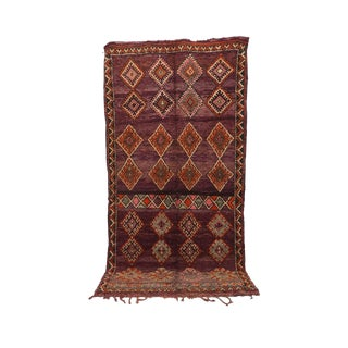 """1970's Vintage Moroccan Boujad Brown Rug- 6'3"""" X 12'3"""" For Sale"""