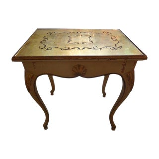 1920s French Louis XV Style Painted and Gilt Table With Eglomise Mirrored Top For Sale