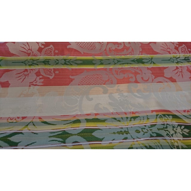Scalamandre Tarantella Orange and Green Stripe Silk Fabric - 67 Yards - Image 4 of 4