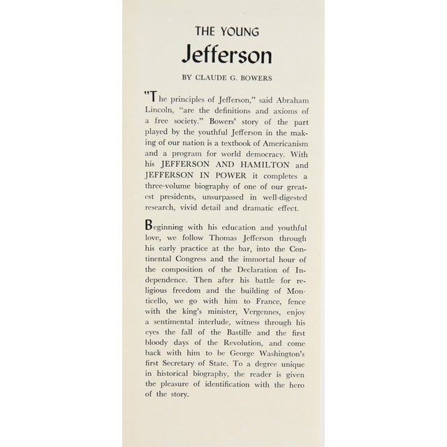 "Traditional 1925 ""Slipcased Edition, Thomas Jefferson, S/3"" Collectible Book For Sale - Image 3 of 6"