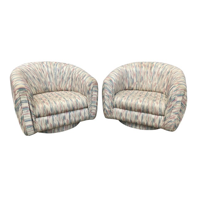 1980s Modern Milo Baughman Swivel Club Chairs - a Pair For Sale