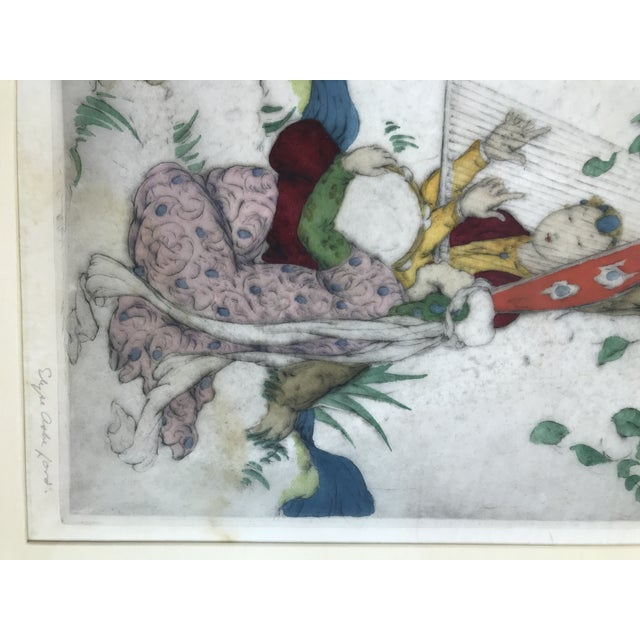 Framed Elyse Ashe Lord Women With Harp and Tamborine Musical Painting For Sale - Image 10 of 13