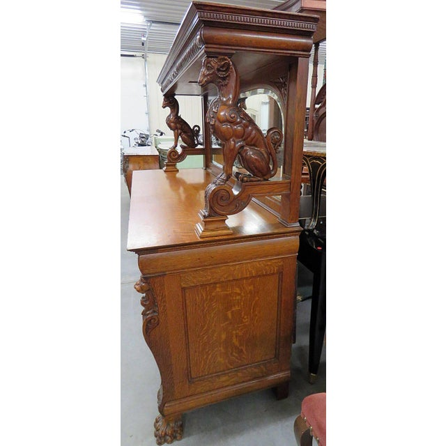 Brown Renaissance Style Sideboard With Superstructure For Sale - Image 8 of 11