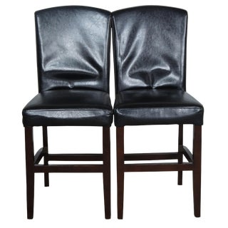 """Arhaus """"Capri"""" Faux Leather Counter Height Bar Stools- A Pair For Sale"""