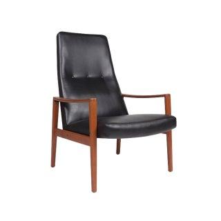 Ulferts Fabriker, Lounge Highback Chair Black Vinyl & Teak