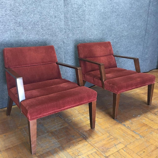 Bright Elana Burgundy Lounge Armchairs - A Pair - Image 2 of 11