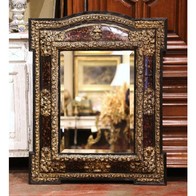 19th Century French Napoleon III Repousse Brass and Ebony Overlay Wall Mirror For Sale - Image 11 of 11