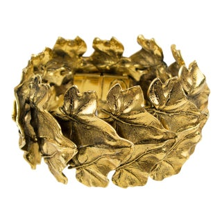 Sonia Rykiel Paris Link Bracelet Massive Gilt Metal Textured Leaves For Sale