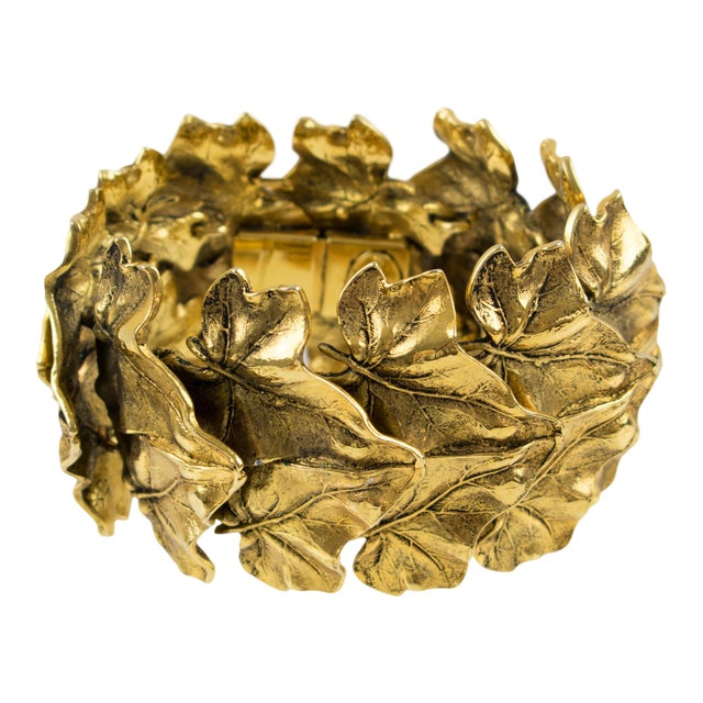 Sonia Rykiel Paris Link Bracelet Massive Gilt Metal Textured Leaves For Sale