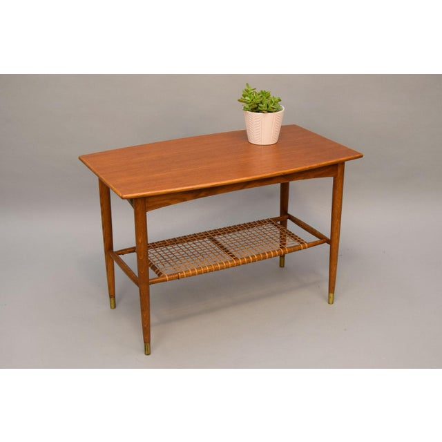 Danish Modern Folke Ohlsson Teak, Oak & Cane Side Table For Sale - Image 3 of 8