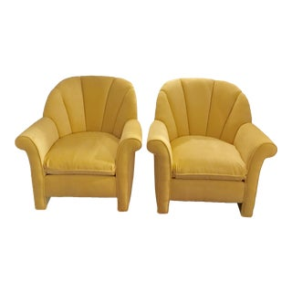 1980s American Classical Bright Yellow Velvet Vanguard Channel Back Chairs - a Pair
