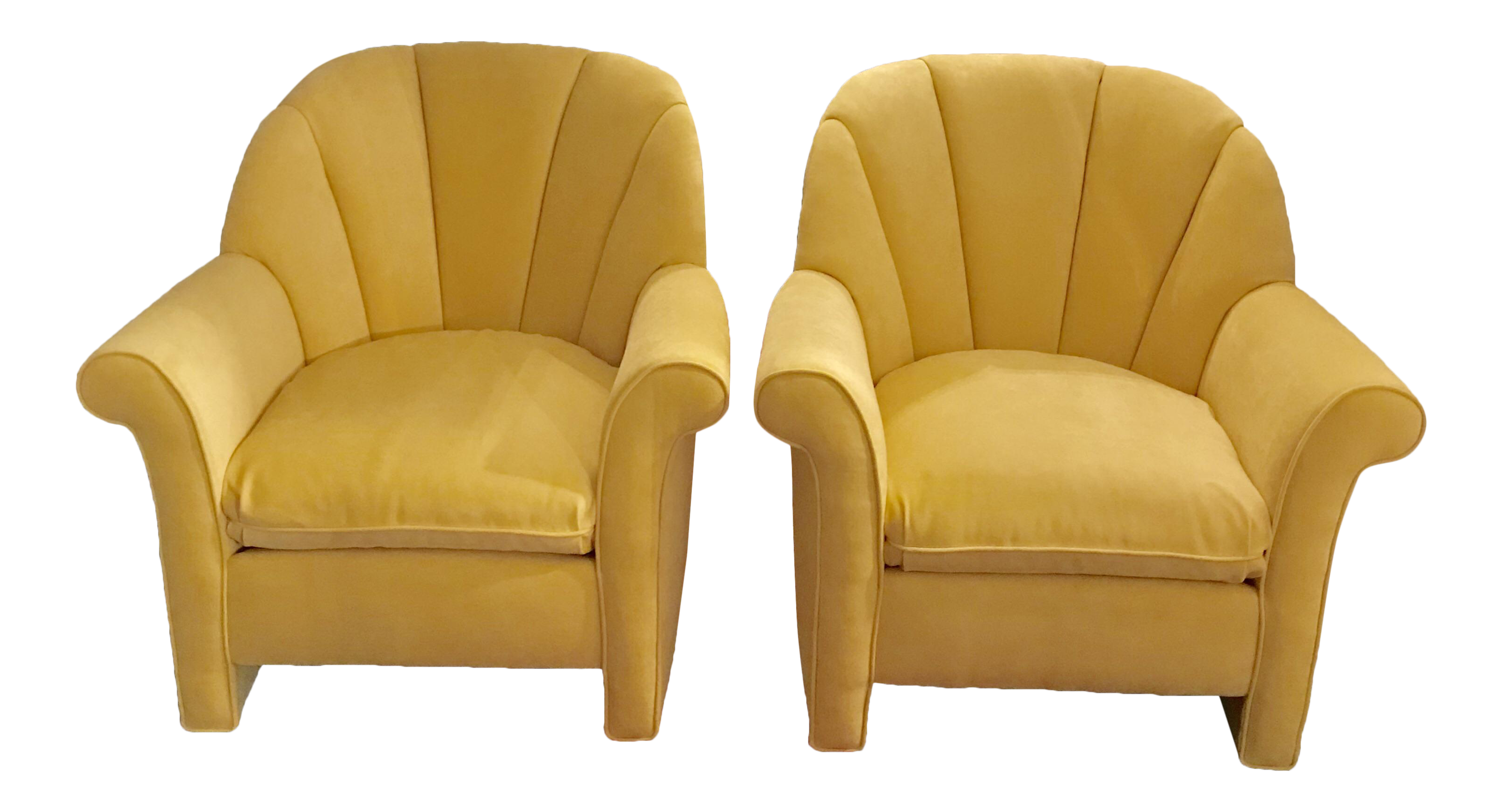 1980s American Classical Bright Yellow Velvet Vanguard Channel Back Chairs    A Pair
