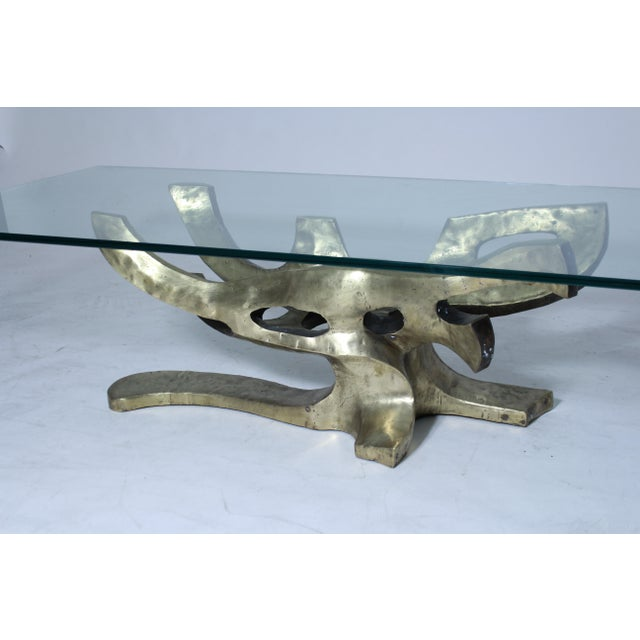 Handmade sculptural italian table base made in bronze. Unsigned, but beautifully made. Original finish. Glass top is open...