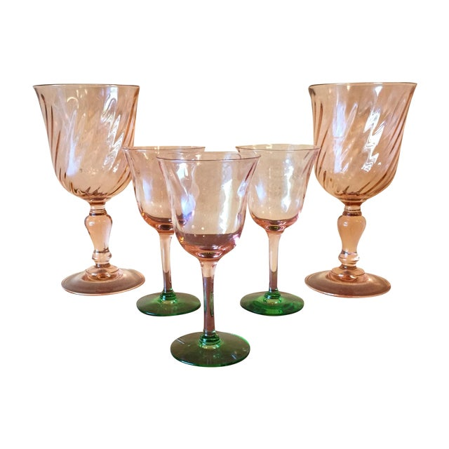 Art Deco Pink Glass Stemware - Set of 5 - Image 1 of 10
