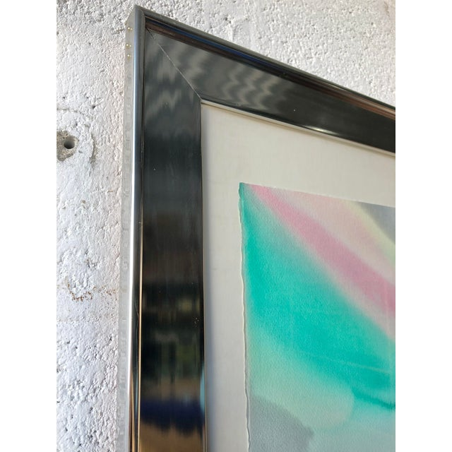 Vintage Mid Century Modern Framed Abstract Washed Acrylic Signed by the Artist. For Sale In Miami - Image 6 of 13