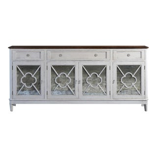 WILCOX Sideboard Antiqued White Rustic Pecan Top For Sale