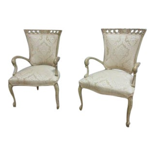Antique Hollywood Regency Fireside Lounge Club Carved Living Room Chairs - a Pair