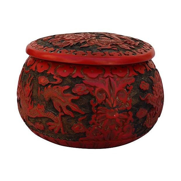 Chinese Dragon Cinnabar Lacquer Box - Image 4 of 5