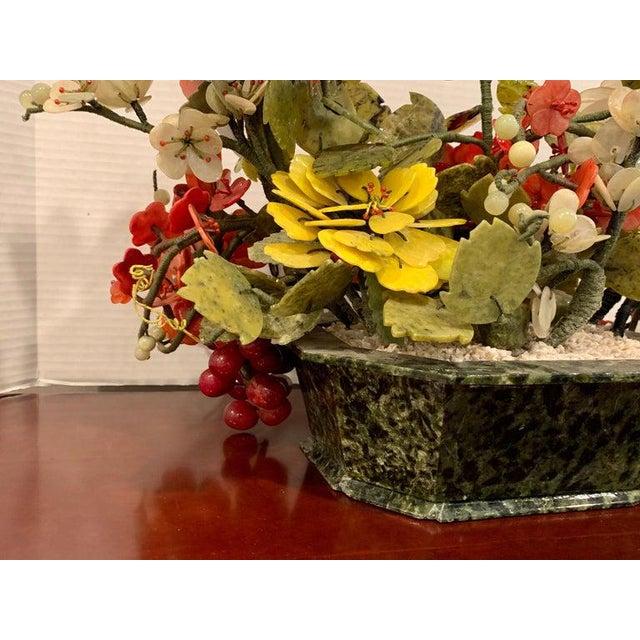 Stone Vintage Chinese Export Hardstone Basket Floral Arrangement For Sale - Image 7 of 13