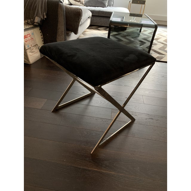 Modern Made Goods Microsuede Chrome X Bench Stools - Set of 6 For Sale - Image 3 of 12