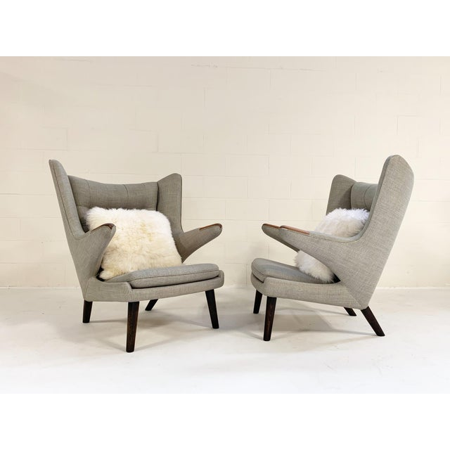 1950s Important Pair of Hans Wegner for a.p. Stolen Papa Bear Chairs With Ottomans For Sale - Image 5 of 13